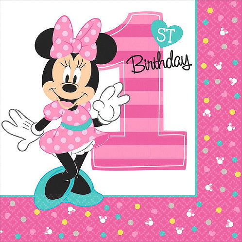 Minnie's Fun To Be One Lunch Napkins 16ct