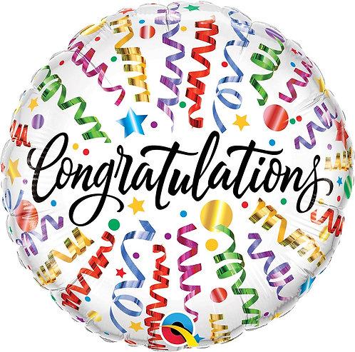 #487 Congrats Streamers 18in Mylar Balloon