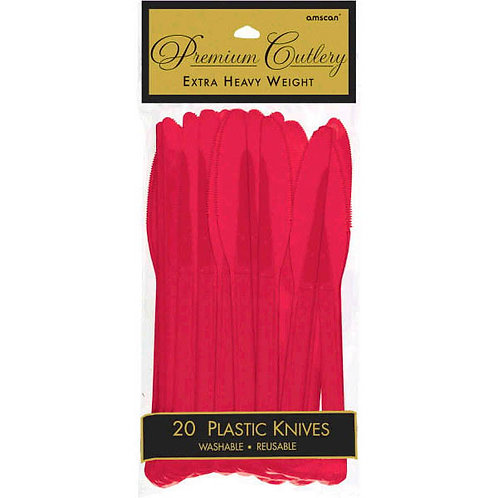 Red Plastic Knives 20ct
