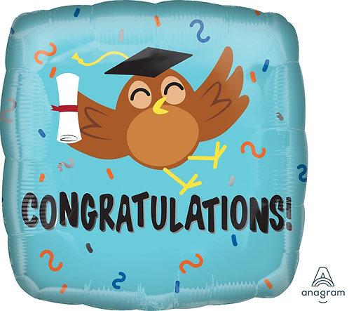 #G31 Congratulations Grad Owl 18in Mylar Balloon