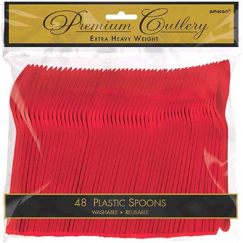 Red Plastic Spoons 48ct