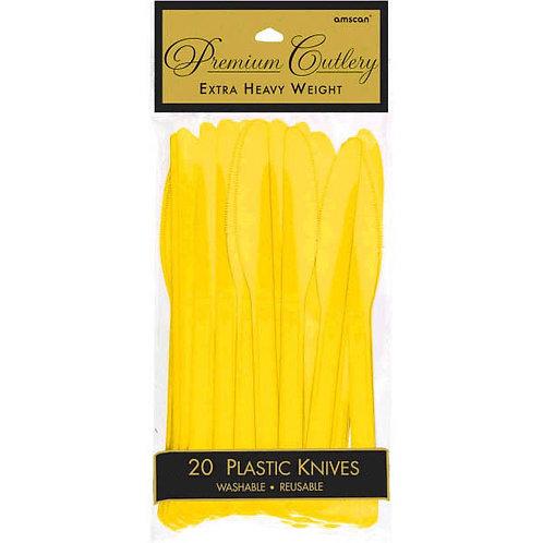Yellow Plastic Knives 20ct