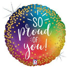 #G13 So Proud Rainbow Holographic 18in Mylar Balloon