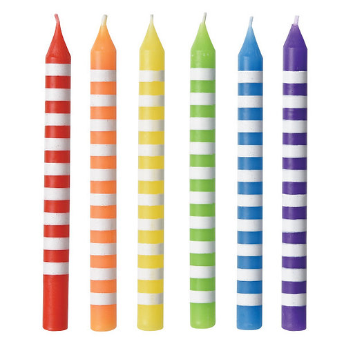 Rainbow Striped Candles 12ct