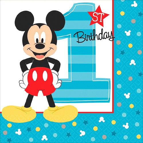 Mickey's Fun To Be One Beverage Napkins 16ct