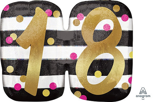 Pink and Gold Milestone 18 25in Mylar Balloon