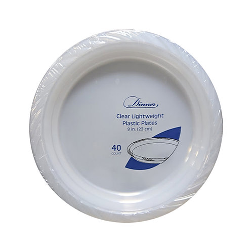 Clear 9in Plastic Plates 40ct