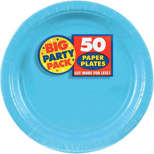 Caribbean Blue 9in Paper Plates 50ct