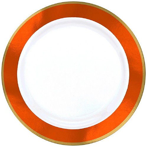 Orange Border Premium 7in Plastic Plates 10ct