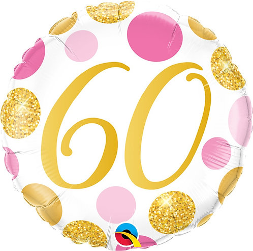 #376 Pink & Gold Dots 60 18in Balloon