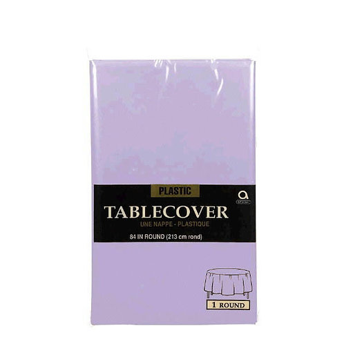 Lavender Round Plastic Table Cover, 84""