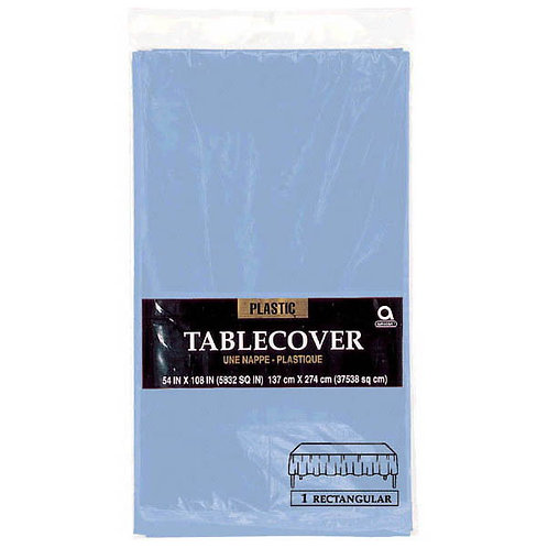 """Light Blue Rectangular Plastic Table Cover, 54"""" x 108"""""""