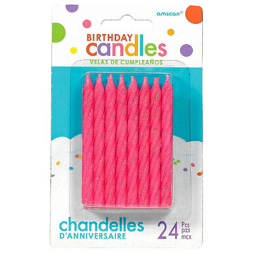 Pink Spiral Candles 3.25in 24ct