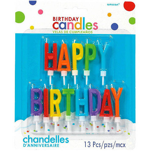 Happy Birthday Letter Candles - Primary 12ct