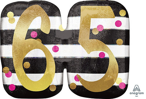 Pink and Gold Milestone 65 25in Mylar Balloon