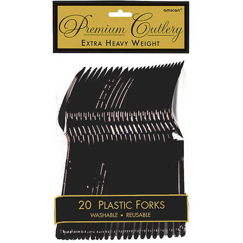 Black Plastic Forks 20ct