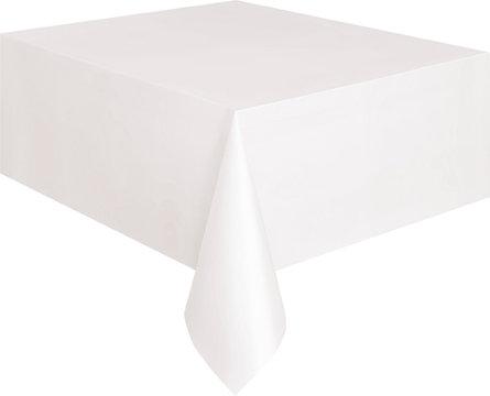 "White Rectangular Plastic Table Cover 54""x108"""