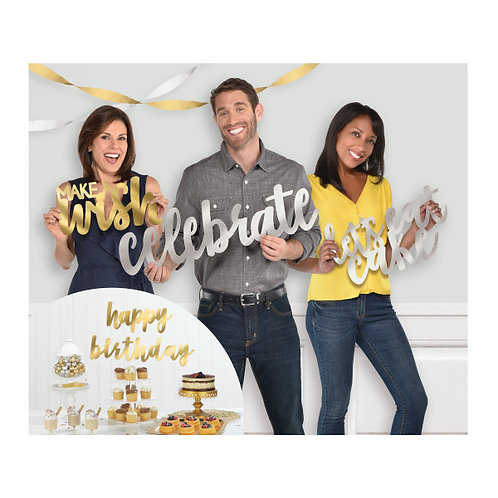 Birthday Accessories Silver & Gold Large Cutouts