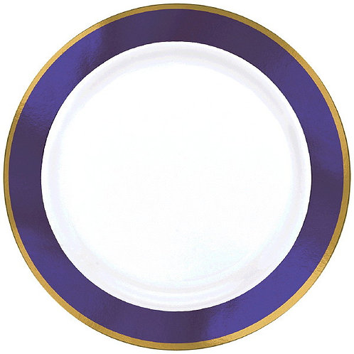 Purple Border Premium 7in Plastic Plates 10ct