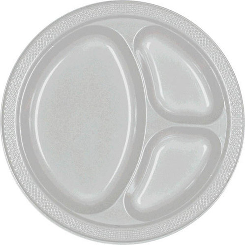 Silver 10in Divided Plastic Plates 20ct
