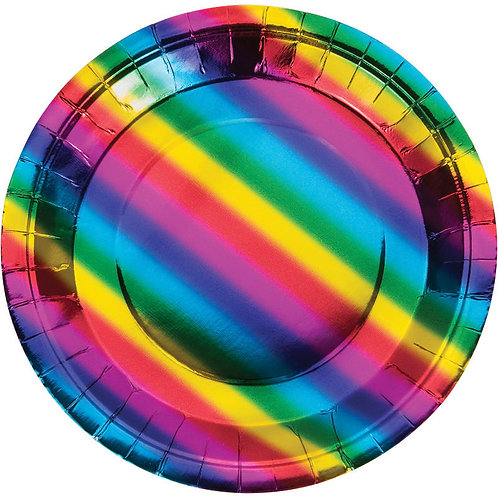 Rainbow Foil Lunch Plates 8ct