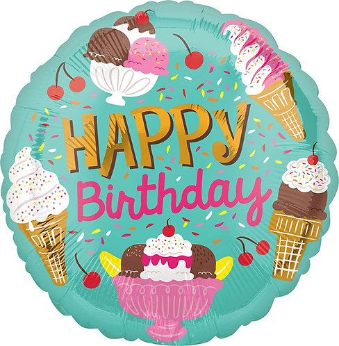 #307 Ice Cream Party Happy Birthday 18in Balloon