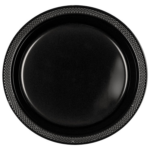 Black 9in Plastic Plates 20ct