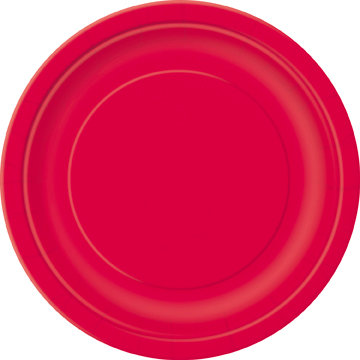 "Red Round 9"" Dinner Plates 16ct"