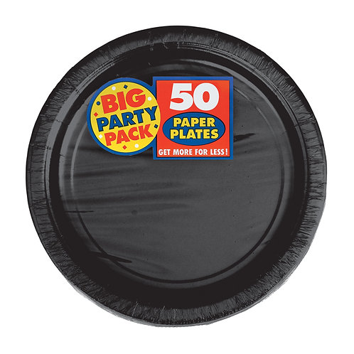 Black 7in Paper Plates 50ct