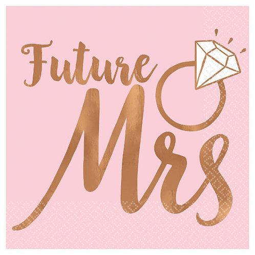 Blush Wedding Beverage Napkins 16ct - Future Mrs.