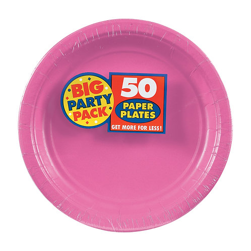 Bright Pink 7in Paper Plates 50ct