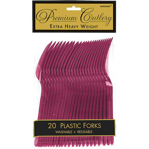 Berry Plastic Forks 20ct