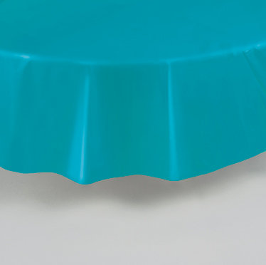 Caribbean Teal Round Plastic Table Cover 84""