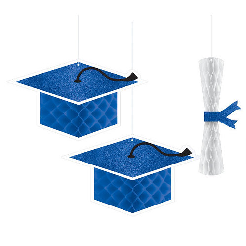 School Colors Honeycomb Hanging Decorations - Blue