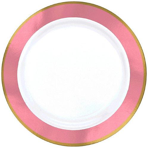 Pink Border Premium 10in Plastic Plates 10ct