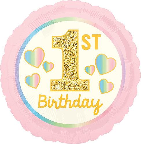 #281 Girl 1st Birthday Pink & Gold 18in Balloon