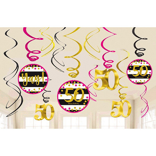 Pink and Gold Milestone 50 Swirl Decorations