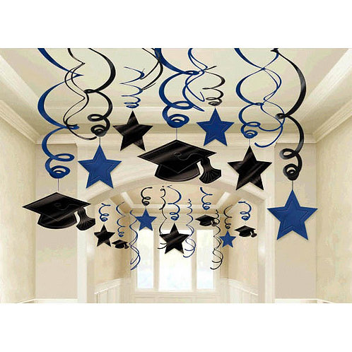Bright Royal Blue Hanging Foil Swirl Decoration Mega Value Pack