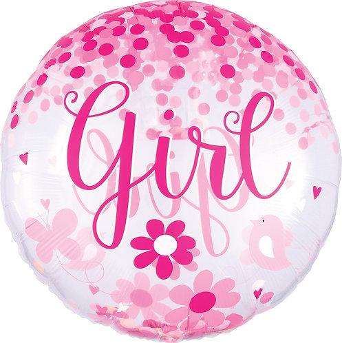 #175 Confetti Baby Girl 28in Mylar Balloon