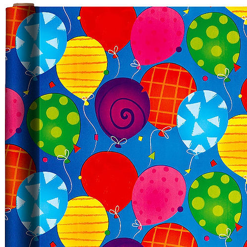 Bright Balloons Jumbo Gift Wrap 16ft x 30in