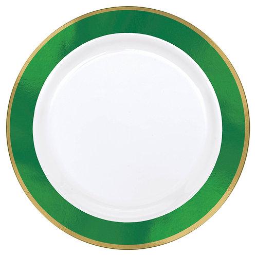Green Border Premium 7in Plastic Plates 10ct