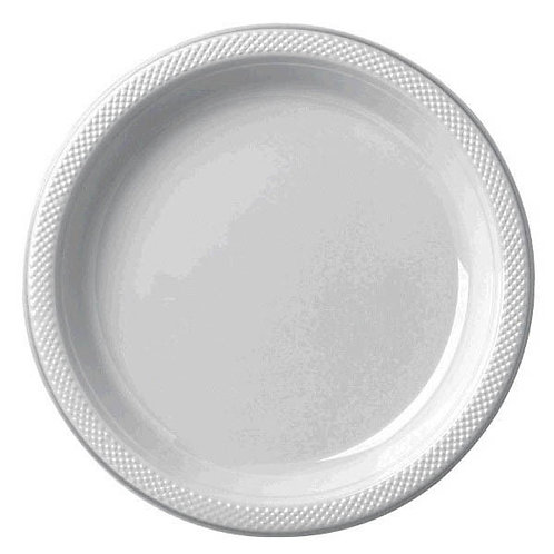 Silver 10in Plastic Plates 20ct