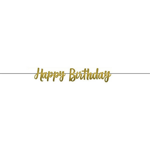 Gold Birthday Glitter Letter Banner 12ft