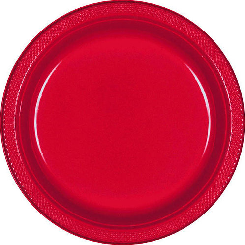 Red 9in Plastic Plates 20ct