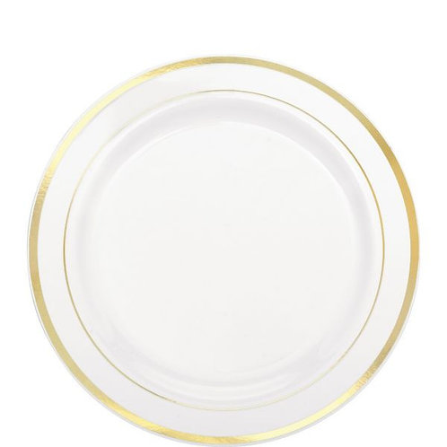 "White Premium Plastic Round Plates with Gold Trim, 7 1/2"" - 20ct"