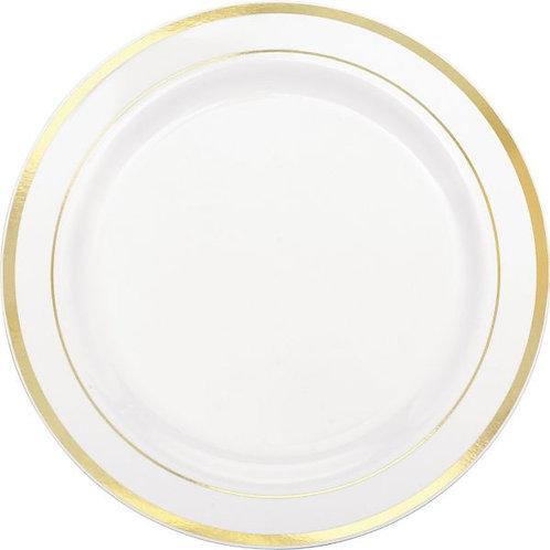 """White Premium Plastic Round Plates with Gold Trim, 10 1/4"""" - 10ct"""