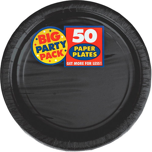Black 9in Paper Plates 50ct