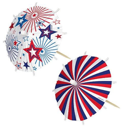 Patriotic Jumbo Umbrella Picks 24ct