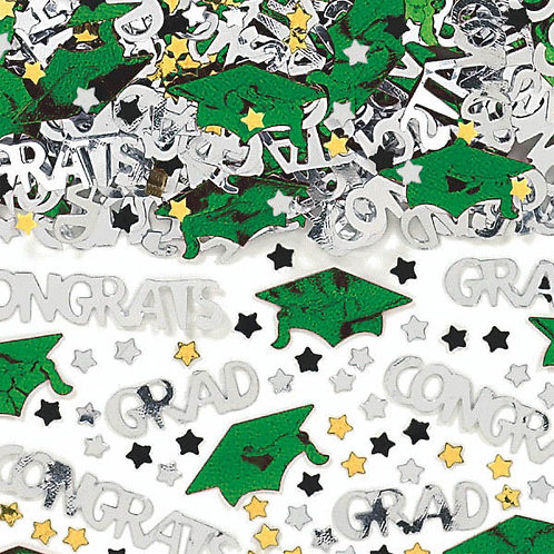 School Colors Embossed Metallic Confetti - Green