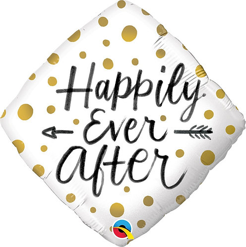 #573 Happily Ever After Gold Dots 18in Mylar Balloon